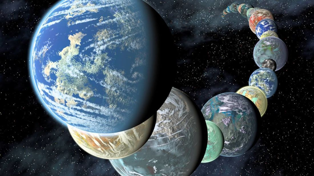 Uma variedade de planetas fora do nosso Sistema Solar é descrito no conceito deste artista. NASA/Ames/JPL-Caltech
